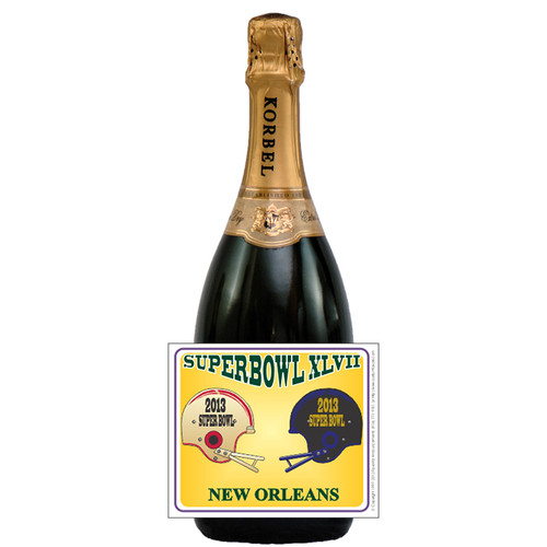 [L643] Super Bowl XLVII Label - champagne bottle