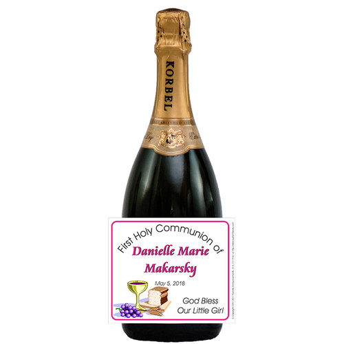 [L173] Communion Label - champagne bottle