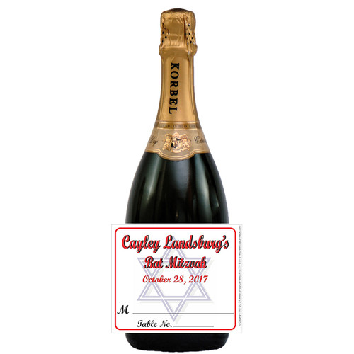 [L407] Place Card - Star of David Label - champagne bottle