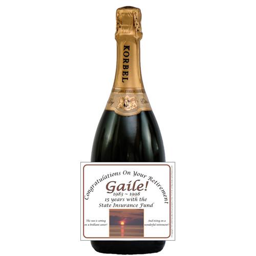 [L180] Sunset Retirement Label - champagne bottle