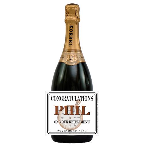 [L181] Watch Retirement Label - champagne bottle