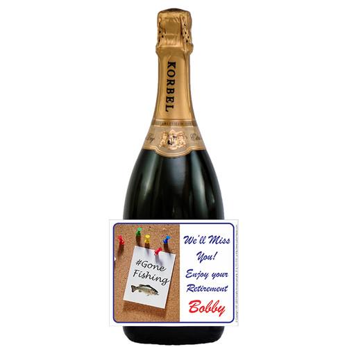 [L184] Memo Label - champagne bottle