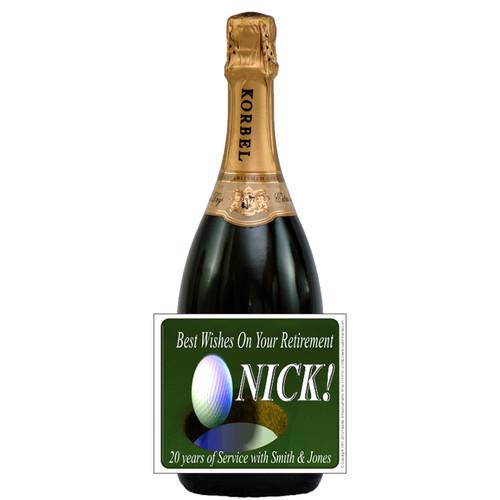 [L586] Golf Ball Label - champagne bottle