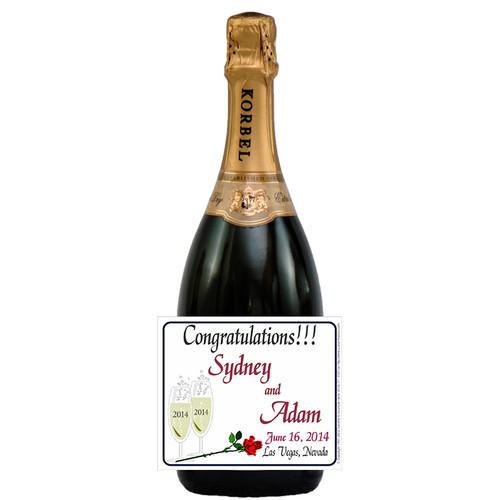 [L216] Champagne Bubbles Label - champagne bottle