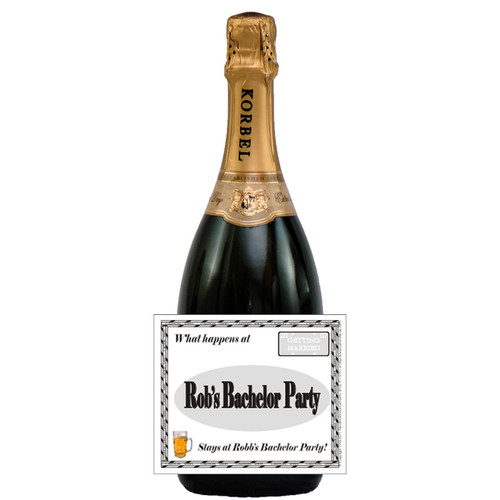 [L332] What Happens At Bachelor ... Label - champagne bottle