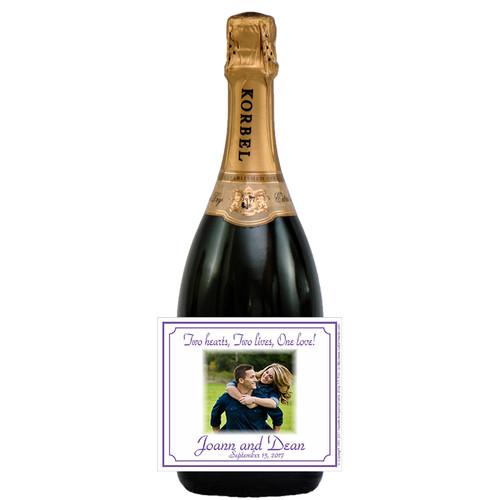 [L363] Wedding Photo 3 Label - champagne bottle
