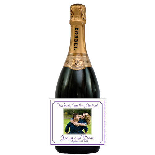 [L363] Wedding Photo 3 Label - champagne bottle