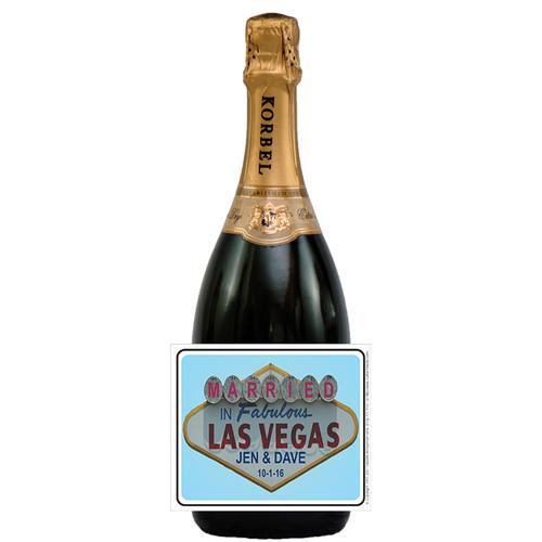 [L545] Vegas Wedding Label - champagne bottle