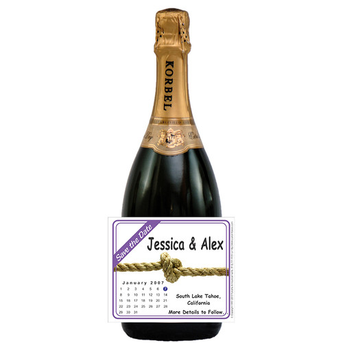 [L82] Save the Date Label - Knot Label - champagne bottle