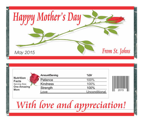 [W374] Long Stem Rose Mothers Day Wrappers - Front and Back