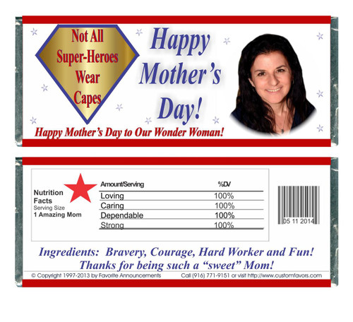 [W649] Super-Hero Photo Mother's Day Wrappers - Front and Back