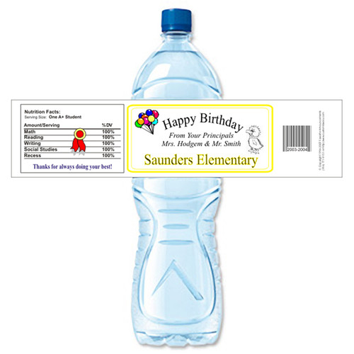 [Y261] School Birthday weatherproof water bottle label