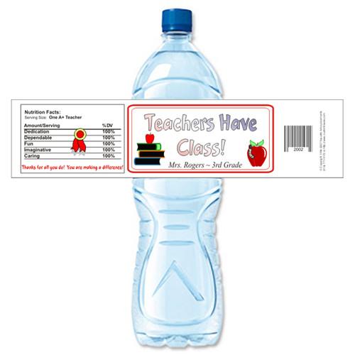 [Y263] Teachers Have Class weatherproof water bottle label