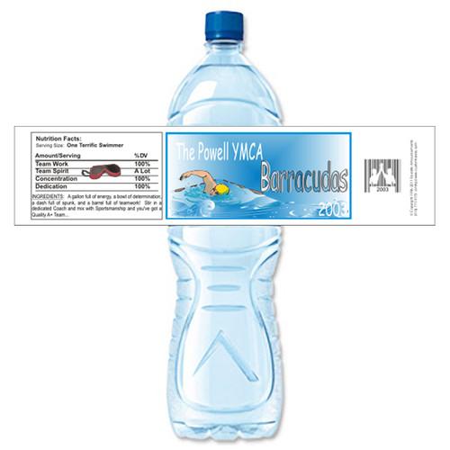 [Y471] Swim Team weatherproof water bottle label