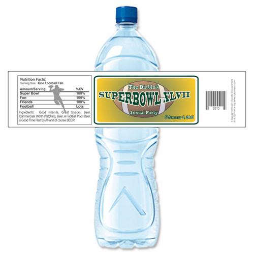 [Y608] Super Bowl Party weatherproof water bottle label