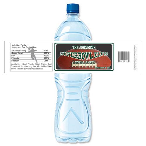 [Y628] Super Bowl Football weatherproof water bottle label