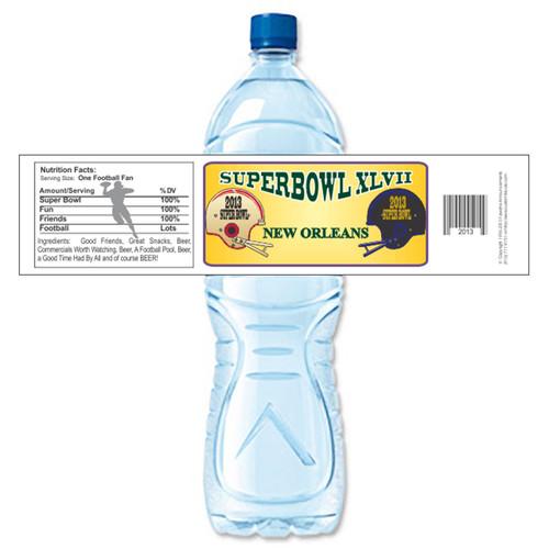 [Y638] Super Bowl XLVII weatherproof water bottle label