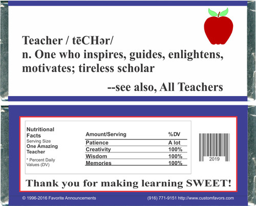 [W149] Teacher Appreciation Wrappers - Front and Back