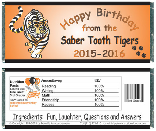 [W154] Tiger School Birthday Wrappers - Front and Back