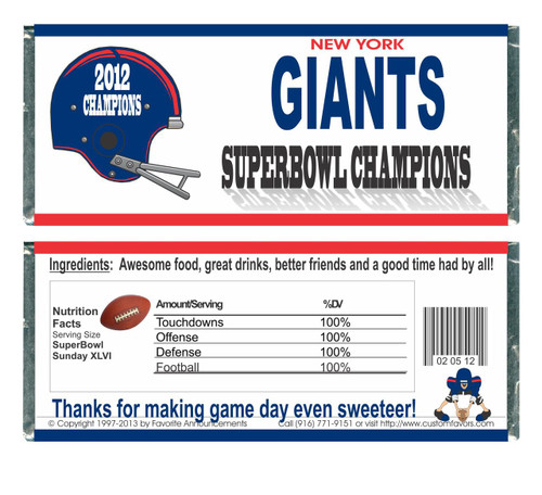 [W645] Super Bowl Champs Wrappers - Front and Back