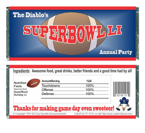 [W646] Super Bowl Party Wrappers - Front and Back
