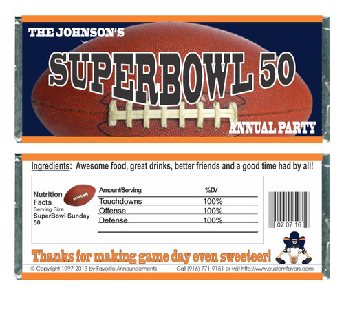 [W666] Super Bowl Football Wrappers - Front and Back