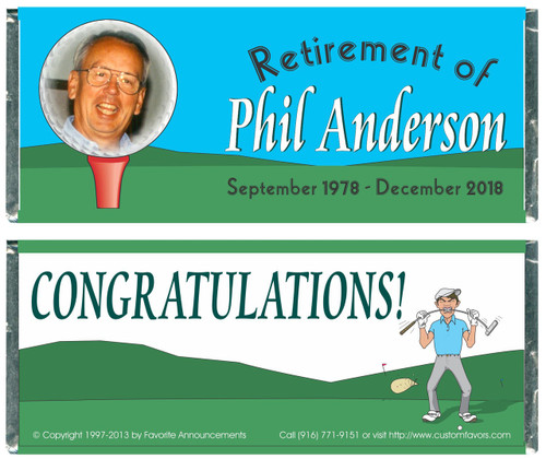 [W324] Golf Photo Retirement Wrappers - Front and Back