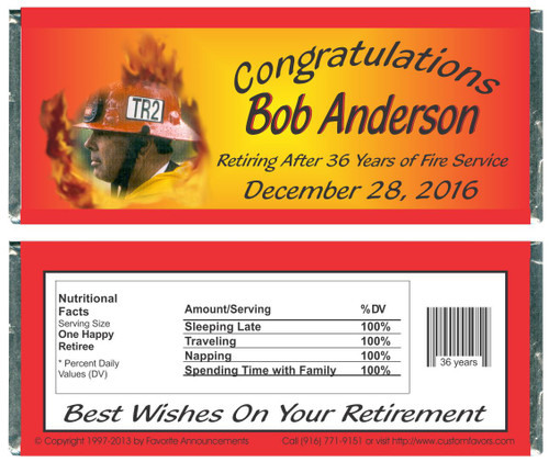 [W325] Fire Fighter Photo Retirement Wrappers - Front and Back