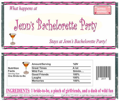 [W144] Happens At  Bachelorette... Wrappers - Front and Back