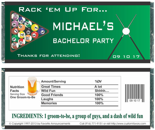 [W430] Billiard Bridal Shower Wrappers - Front and Back