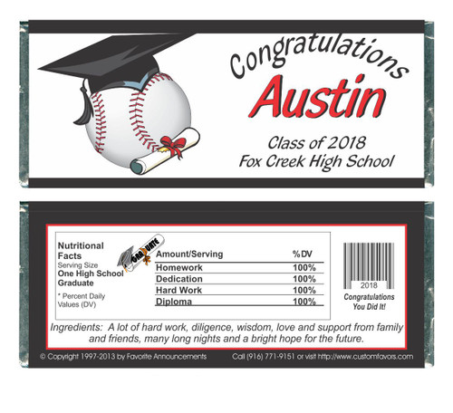 [WG39] Baseball Graduation Wrappers - Front and Back