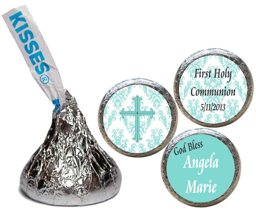 [KR08] Damask Communion Religious Stickers - with kiss