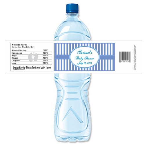[YS50] Baby Shower Stripes - Blue weatherproof water bottle label