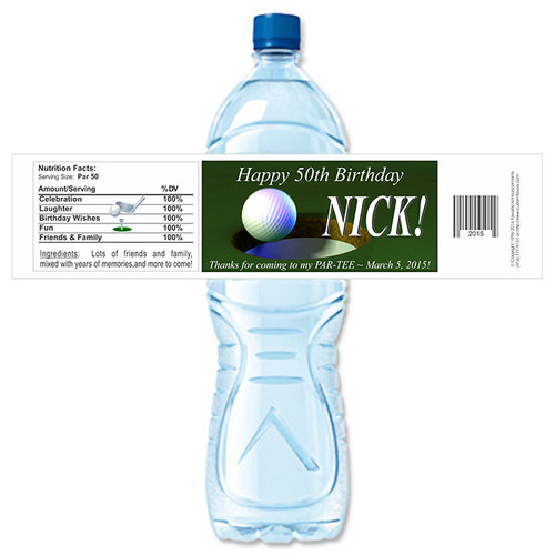 [YB127] Golf Birthday weatherproof water bottle label