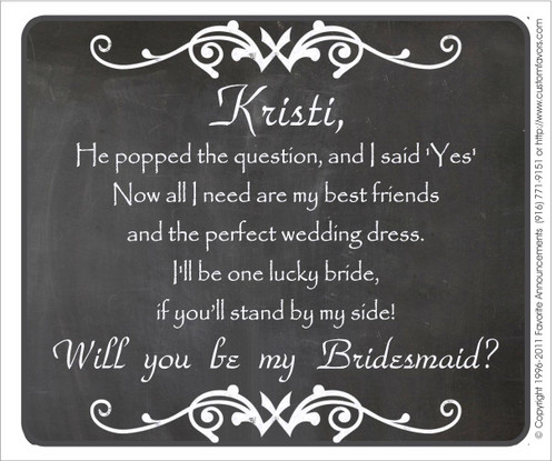 [LW135] Chalk Will You Be My Bridesmaid Wedding Label - champagne bottle