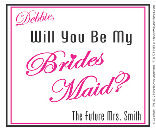 [LW136] Future Will You Be My Bridesmaid Wedding Label - champagne bottle