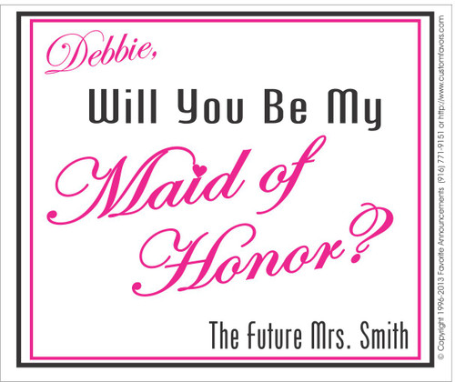 [LW137] Future Will You Be My Maid of Honor Wedding Label - champagne bottle