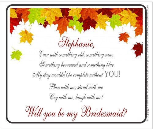 [LW138] Leaf Will You Be My Bridesmaid Wedding Label - champagne bottle