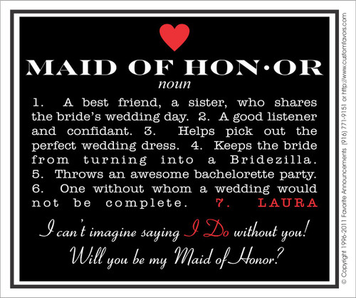 [LW139] Will You Be My Maid of Honor Wedding Label - champagne bottle