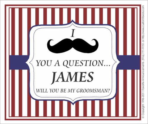 [LW140] I Mustache You Wedding Label - champagne bottle