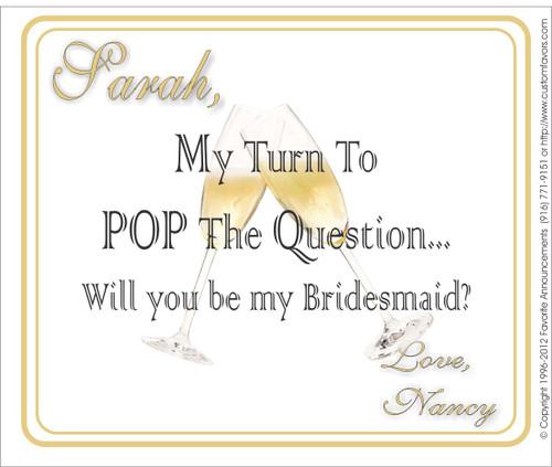 [LW142] Pop the Question Wedding Label - champagne bottle