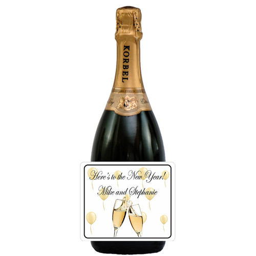 [LH137] Gold Balloons NY  Label - champagne bottle