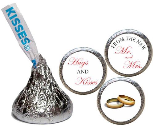 [KW28]Hugs & Kisses Mr. & Mrs. non personalized Wedding Sticker  - Candy Kiss