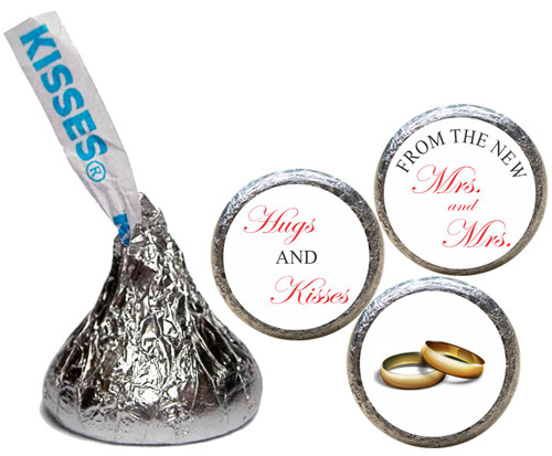 [KW30]Hugs & Kisses Mrs. & Mrs. non personalized Wedding Sticker  - Candy Kiss