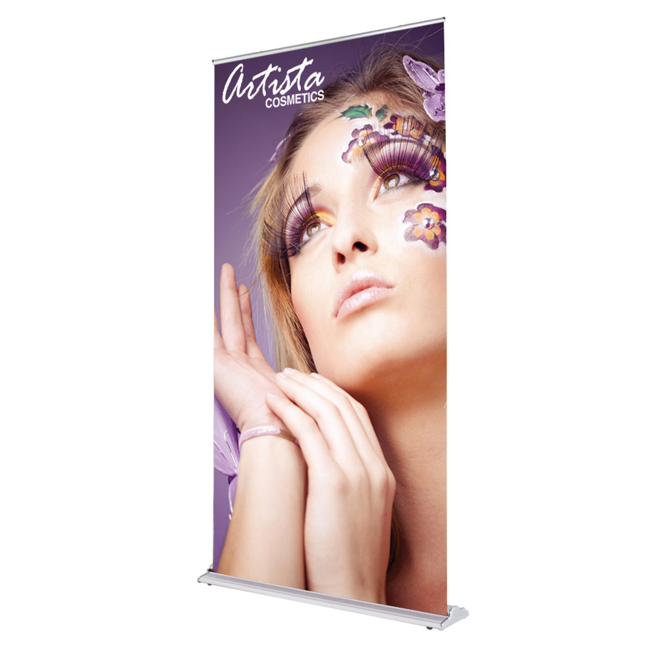 48 inch x 92 inch silverstep retractable banner stand side view