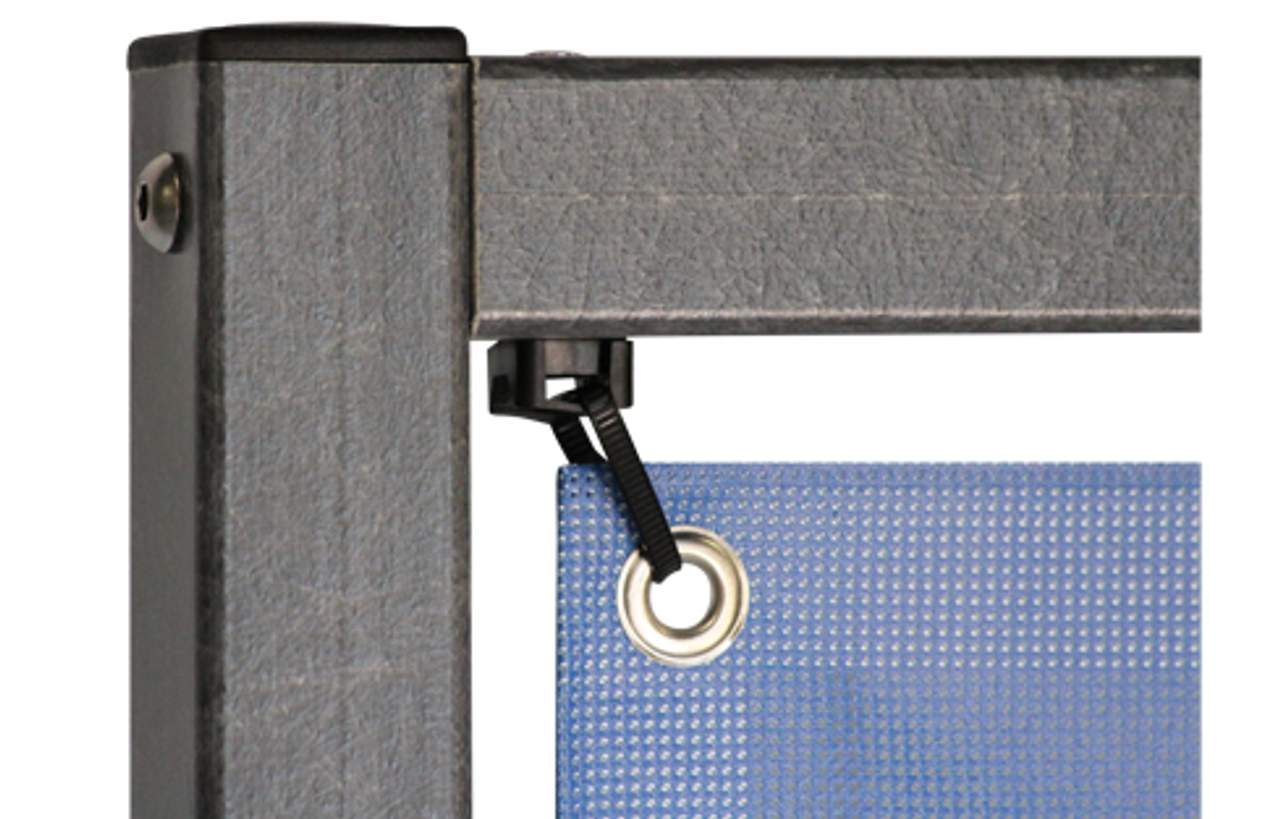 corner clips are tied through the grommets of your banner