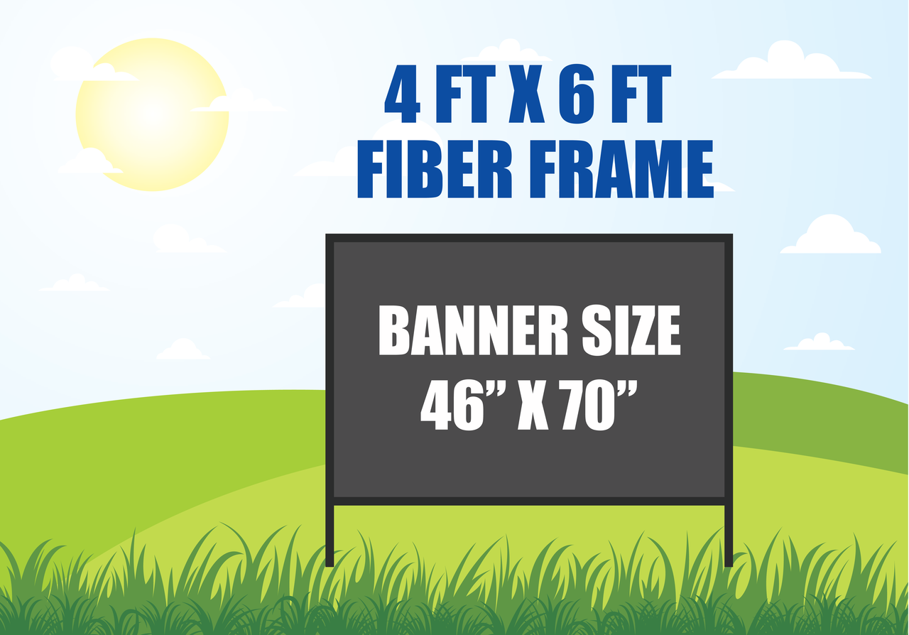 4 Ft X 6 Ft Outdoor Banner Stand In Ground Fiber Frame