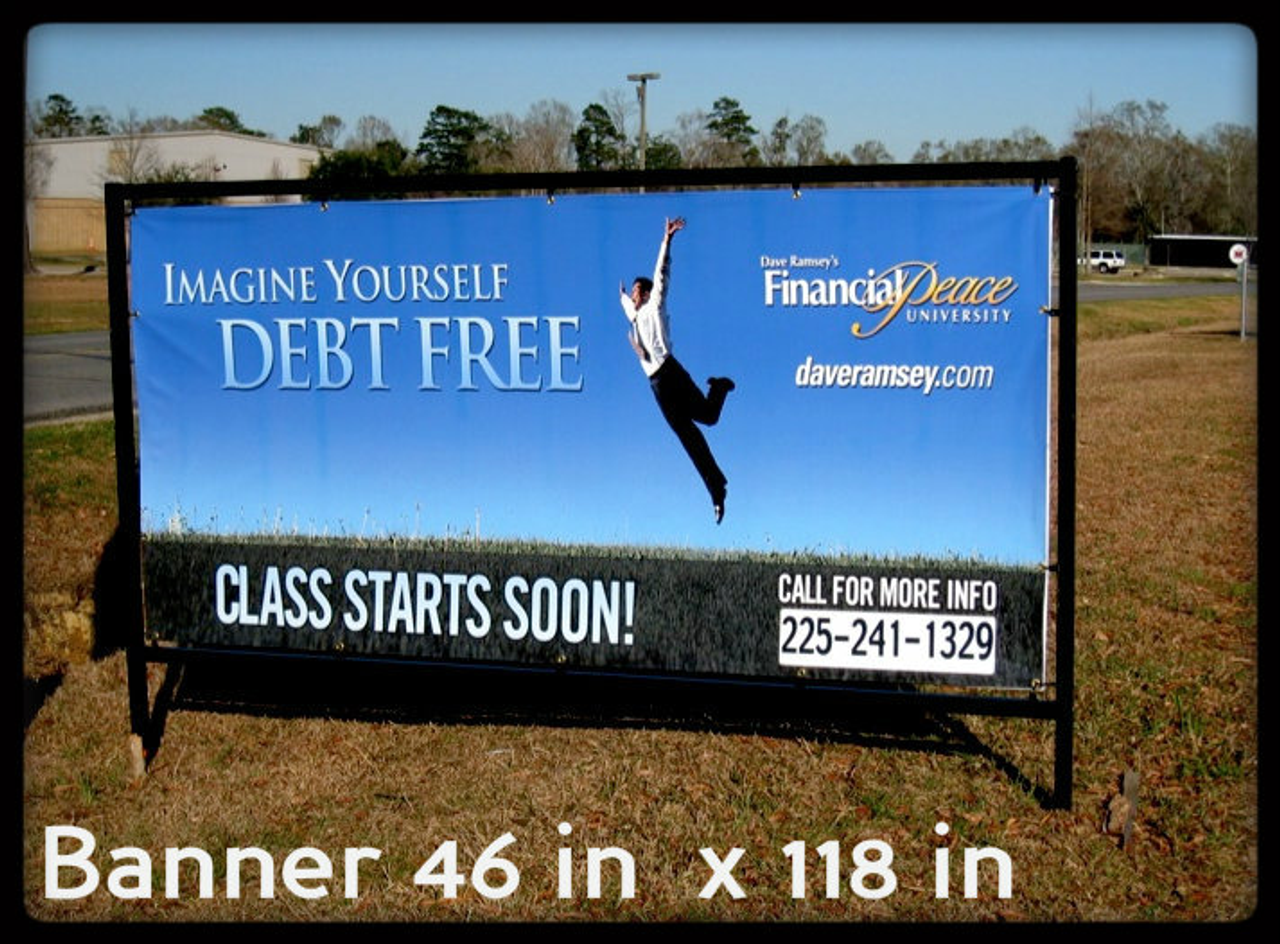 4 ft x 10 ft fiber frame in ground unit. Banner is 46 inch vertical x 118 inch horizontal
