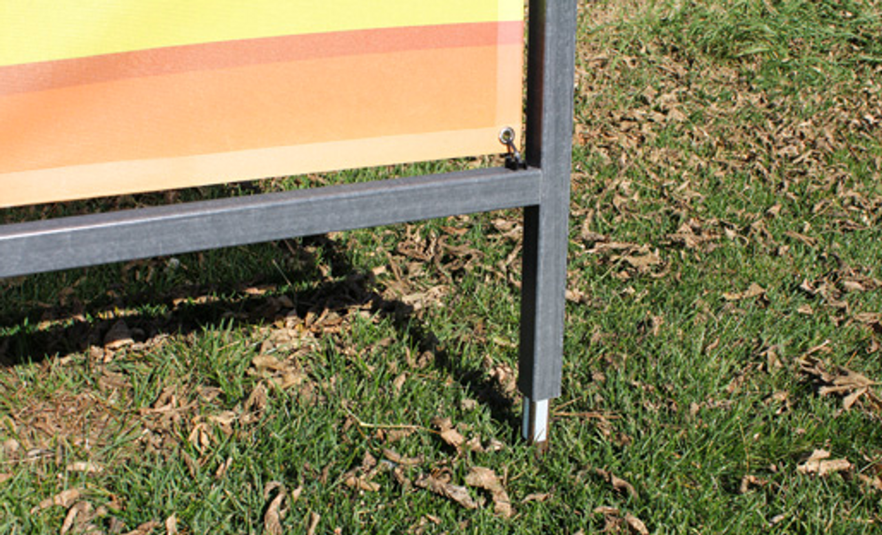 4 ft x 10 ft outdoor banner stand frame installs over aluminum mount stake for added strength.