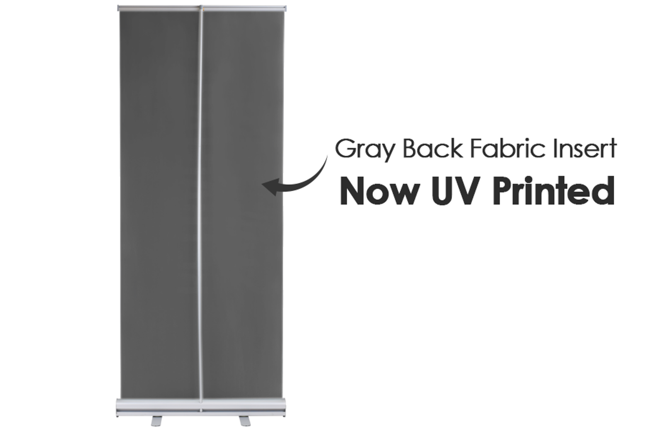 California Retractable Banner Stand 33 in x 81 in with fabric printed graphic